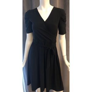 Ny Collection Black Rouched Sleeve Faux Wrap Dress
